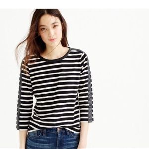 J. Crew Striped Tee w/faux leather trim size L